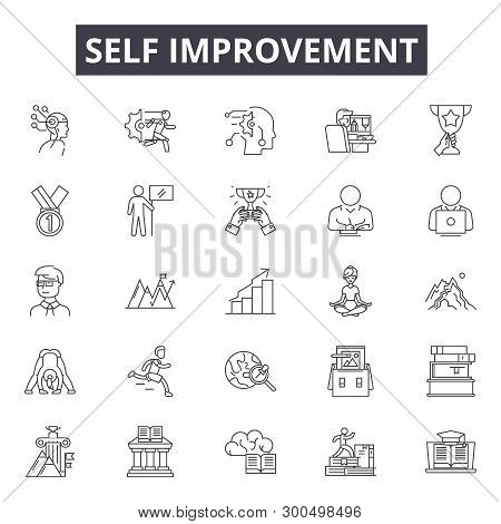 Self Improvement Line Icons, Signs, Vector Set, Linear Concept, Outline Illustration