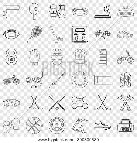 Sport Equipment Icons Set. Outline Style Of 36 Sport Equipment Vector Icons For Web For Any Design