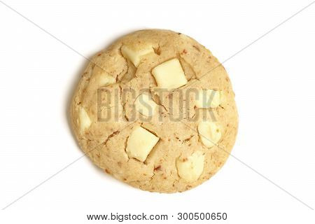 American Style Soft Cookie With White Choc Chocolate Chip - Topview On White Background With Shadow