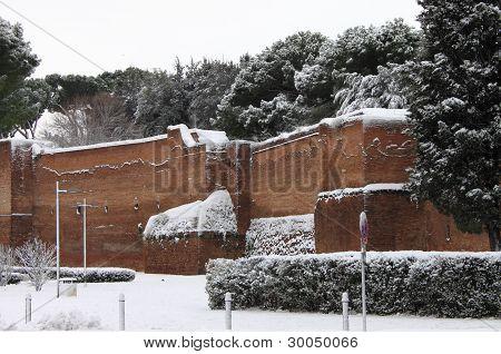 Surrounding walls of Rome under snow