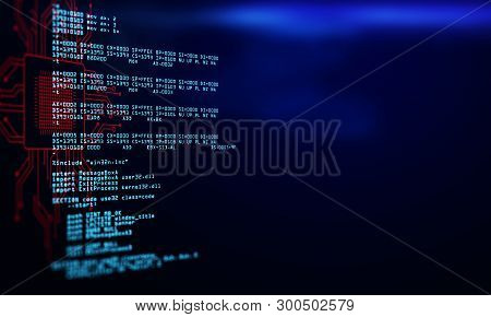Abstract Dark Coding Background With Text. Programming And Future Concept. 3d Rendering