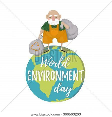 World Environment Day. A Man With Trash Bags, Sort Garbage. Reduce Environment Pollution. World Envi