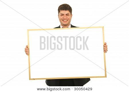 Laughing Business Man Holding Banner