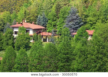 Two houses with red roofs among green trees in the forest in Piedmont, Northern Italy.
