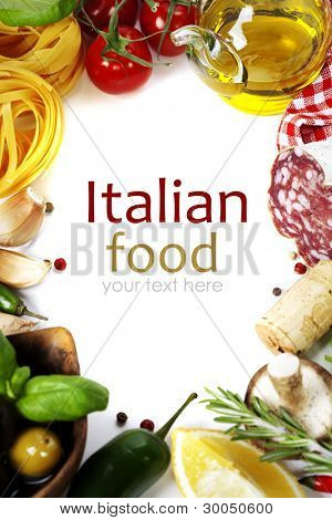 Italian food. Ingredients for cooking (tomatoe, garlic, pepper, mushroom, basil, olives, olive oil, salami) over white (with easy removable sample text)