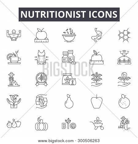 Nutritionist Line Icons, Signs, Vector Set, Linear Concept, Outline Illustration