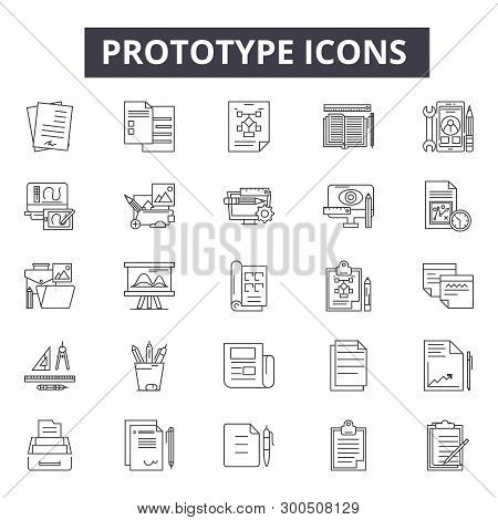 Prototype Line Icons, Signs, Vector Set, Linear Concept, Outline Illustration