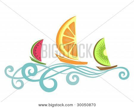 Fruitlike Boats Floating On The Waves