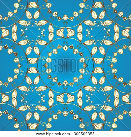 Tribal Art Print, Vintage Background. Background Texture, Sketch, Theme In Blue, Yellow And Brown Co