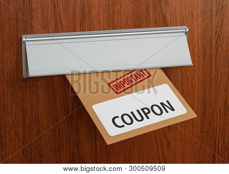 A Brown Letter With The Label Coupon