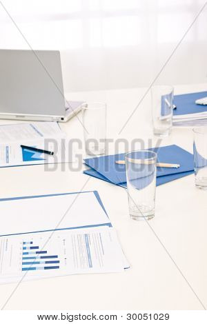 Office supply on table before successful sales business meeting