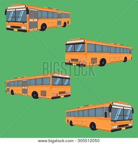 3d Thai Bus Orange Transport Car Vehicle Driver Fare Passenger Autobus Omnibus Coach Rail Bench Chai