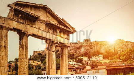 Roman Agora At Sunset In Summer, Athens, Greece. It Is One Of The Top Landmarks Of Athens City. Sunn