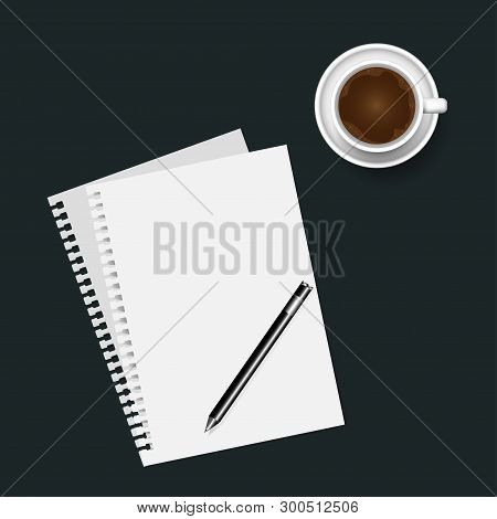 Blank Note Paper With  Pen And  Coffee Cup,  On Brown Background. Vector Illustration