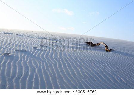 White sand dunes panorama from Lencois Maranhenses National Park, Brazil. Rainwater lagoon. Brazilian landscape poster