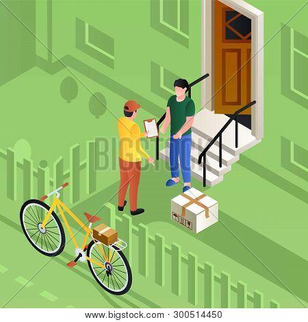 Postman On Bike Delivery Parcel Concept Background. Isometric Illustration Of Postman On Bike Delive