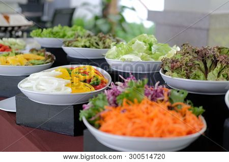 Vegetable Food Buffet Catering In Restaurant Hotel. Eating Dining In Banquet