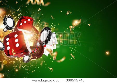 Creative Background, Gaming Dice, Cards, Casino Chips On A Green Background. The Concept Of Gambling