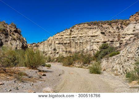 Tabernas Desert, In Spanish Desierto De Tabernas, Andalusia. Europe Only Desert. Almeria, Andalusia