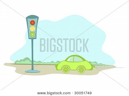 A Car And A Traffic Lights