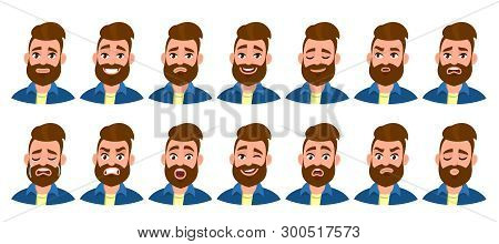 Set Of Male Character With Different Emotions. Bearded Man's Various Collection Of Facial Expression