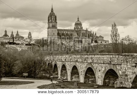 View On New Cathedral And Roman Bridge In Salamanca, Spain