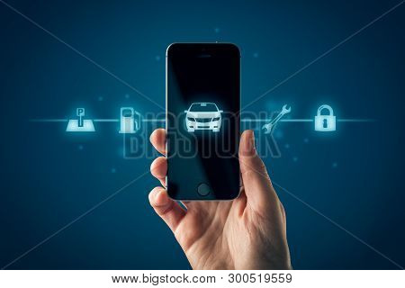 Intelligent Car Smart Phone App Concept, Intelligent Vehicle And Smart Cars Concept. Hand With Smart