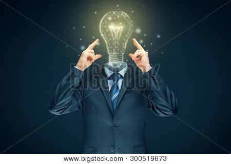Improve Your Creativity, Idea And Intelligence Concepts. Businessman And Graphics Light Bulb - Symbo