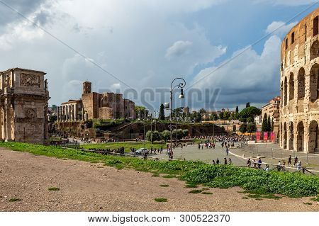 View Of The Coliseum, Also Known As The Flavian Amphitheatre.