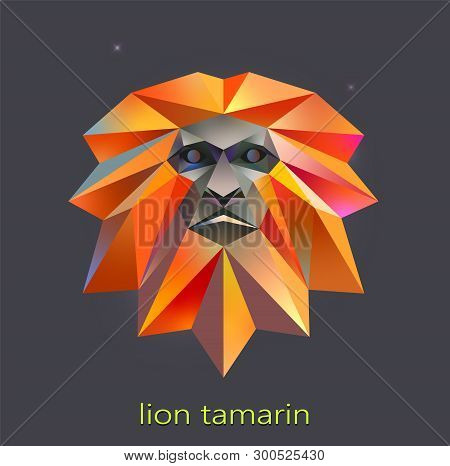 Low Poly Lion Tamarin. Monkey Logo Vector Illustration