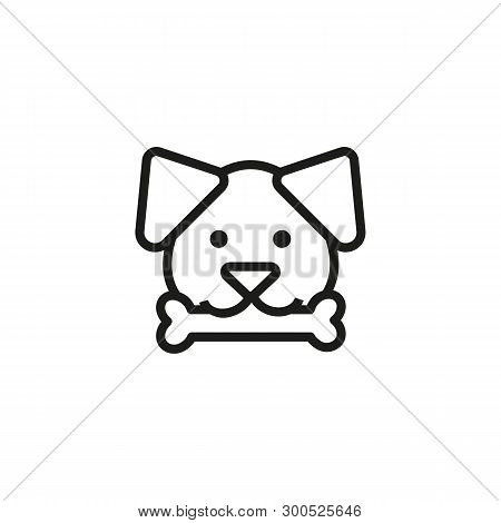 Dog With Bone Line Icon. Domestic Dog, Pet Shop, Kennel. Pet Concept. Vector Illustration Can Be Use