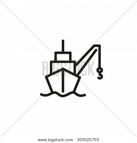 Freight Ship Line Icon. Cargo Ship, Shipping, Discharge. Marine Port Concept. Vector Illustration Ca