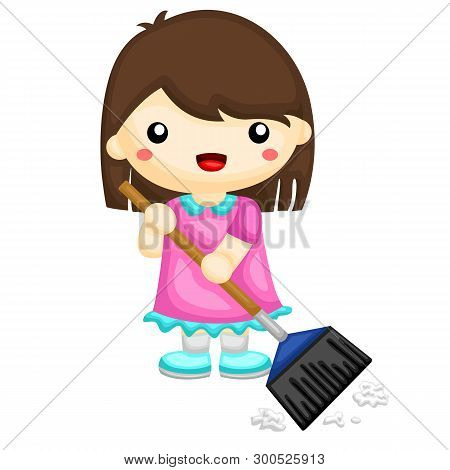 Little Girl Sweeping The Floor From Dust And Paper