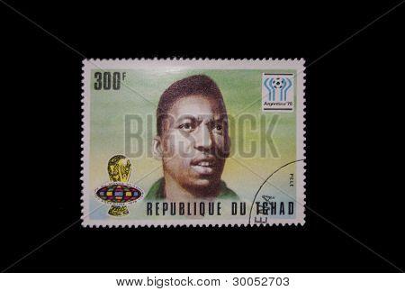 SALAMANCA 02/16/2012 Chad Republic Stamp with Pele illustration