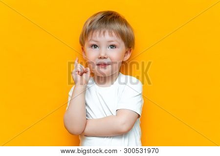 Portrait Of Cute Handsome Blonde Little Boy With Finger Pointed Up. Little Child Has Idea. Kid Isola