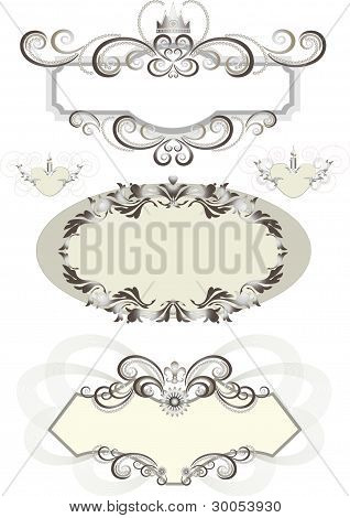 Vintage frame decorated with crown and the curves.Banner.