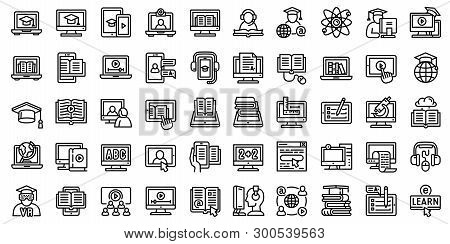 Elearning Icons Set. Outline Set Of Elearning Icons For Web Design Isolated On White Background