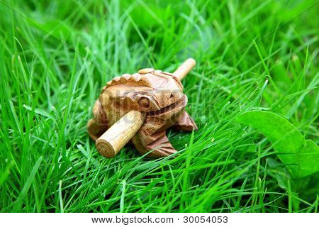 Asian Handmade Wealthy Frog On Green Grass Background