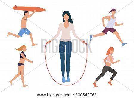 Set Of Outdoor Sport Activities. Men And Women Jumping Rope, Running, Playing Beach Volleyball, Surf