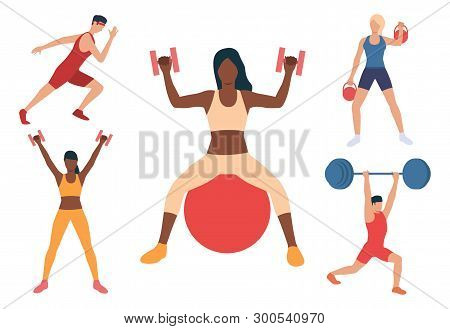 Set Of People Training Bodies In Gym. Men And Women Lifting Weight, Running, Exercising With Ball. S
