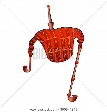 Red Bagpipes Icon. Cartoon Of Red Bagpipes Icon For Web Design Isolated On White Background