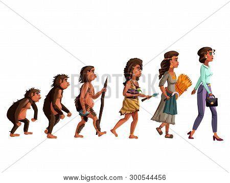 Woman Evolution Vector Cartoon Illustration Concept. Female Development Process From Monkey, Erectus