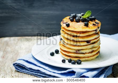 Blueberry Ricotta Pancakes With Fresh Blueberries And Cup Of Coffee