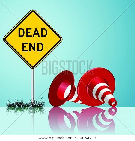 Dead End Sign With Cones And Grass