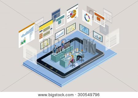 Vector Illustration Concept. A Teamwork In A Analytics And Management Company. The Big Screens Sowin