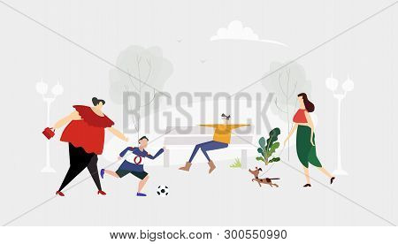 People Walking And Relaxing In Park. Everyday Life Concept