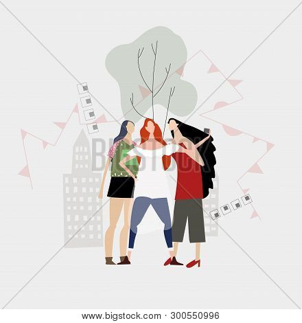 Group Of Friends, Girls Making A Selfie In The Park. Everyday Life Concept