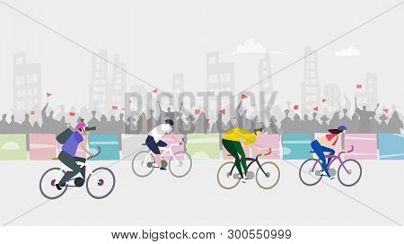 Sport Race. Cycling In The City, Sport Event. Crowd Cheering Sportsmen.