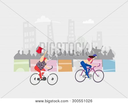 Overweight Woman On Bike Making A Very Good Progress. Sport Race. Cycling In The City, Sport Event.