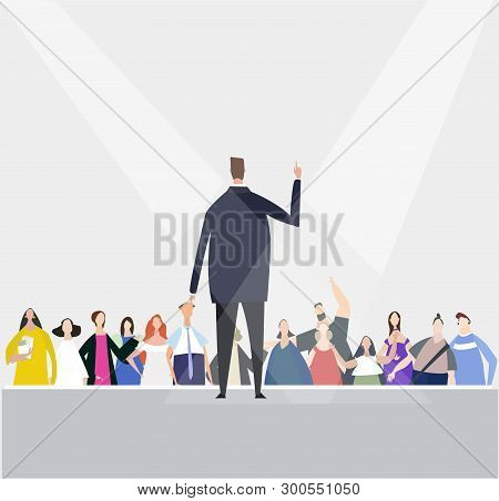 Businessman Speaking Informs Of The Audience. Meeting, Promotion, Advertisement Concept. Everyday Li